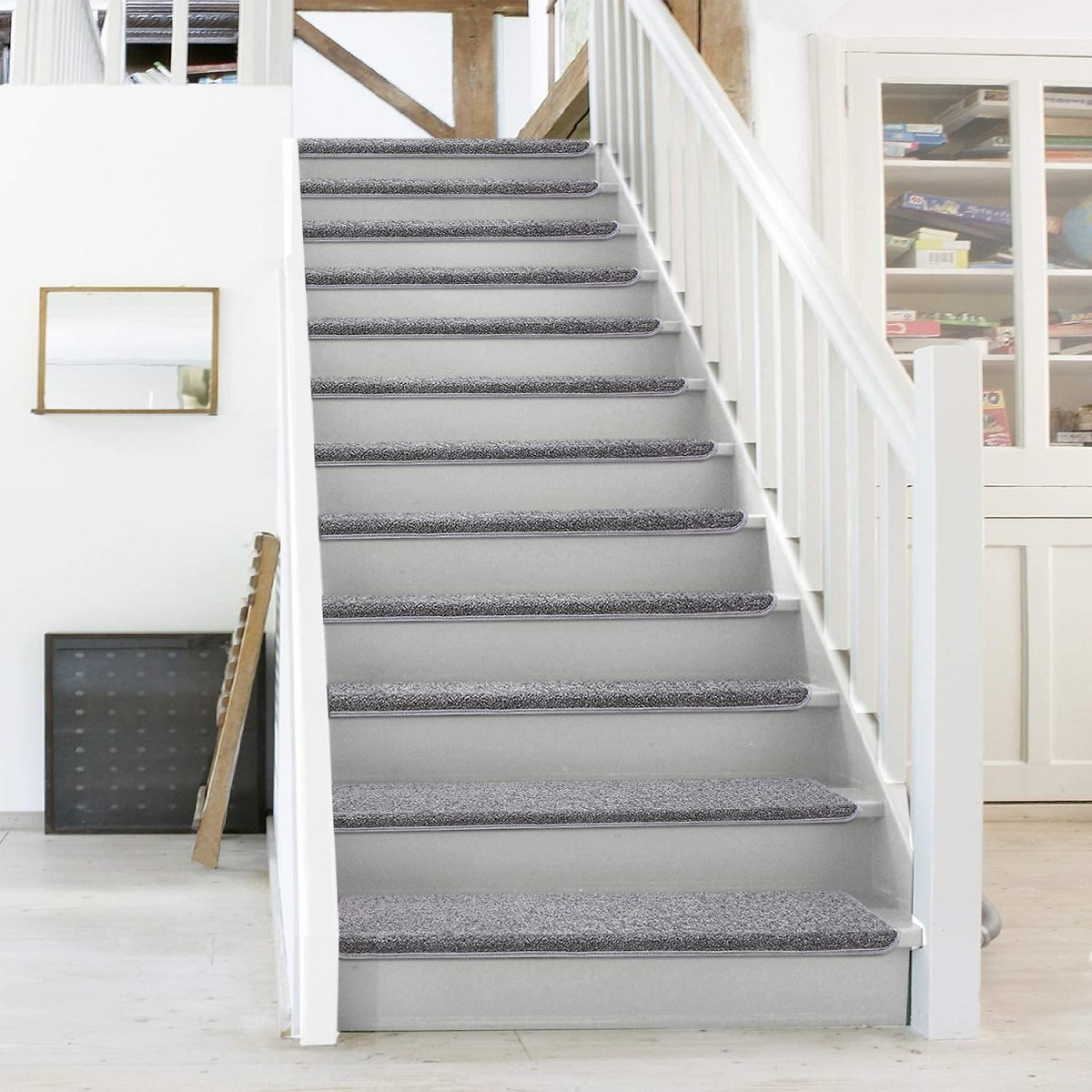PURE ERA Carpet Stair Treads Set of 14 Non Slip Self Adhesive Bullnose Indoor Stair Protectors Pet Friendly Rugs Covers Mats Skid Resistant Tape Free Washable Soft Solid Dark Grey 9.5
