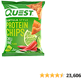 Quest Nutrition Tortilla Style Protein Chips, Chili Lime, Baked, 1.1 Ounce
