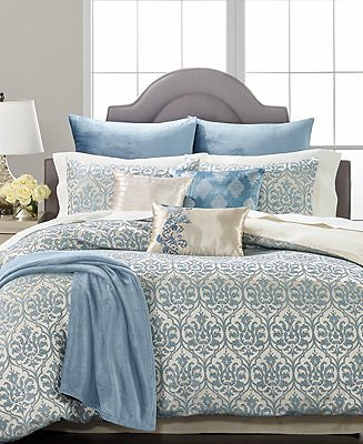 Martha Stewart Collection CLOSEOUT! Pucker Damask 14-Pc. Queen Comforter Set, Created for Macys & Reviews - Bed in a Bag - Bed & Bath