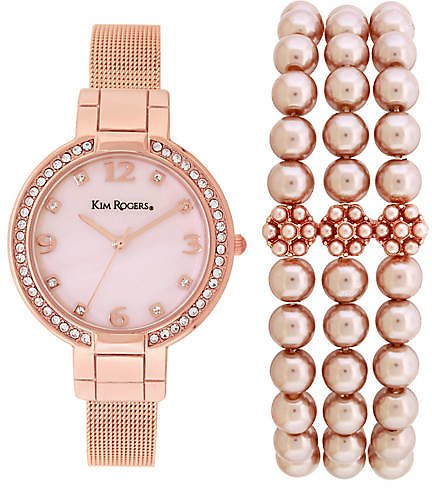 Rose Gold Tone Mesh Watch and Pearl Bracelet Set