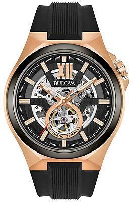 Bulova Men's Automatic Black Silicone Strap Watch 46mm 98A177 & Reviews - All Fine Jewelry - Jewelry & Watches