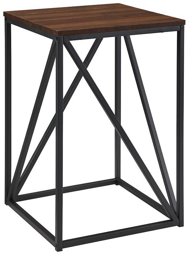 Welwick Designs 16 In. Dark Walnut Modern Geometric Square Side Table-HD8229