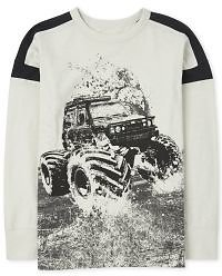 Boys Long Sleeve Striped Arm Graphic Top