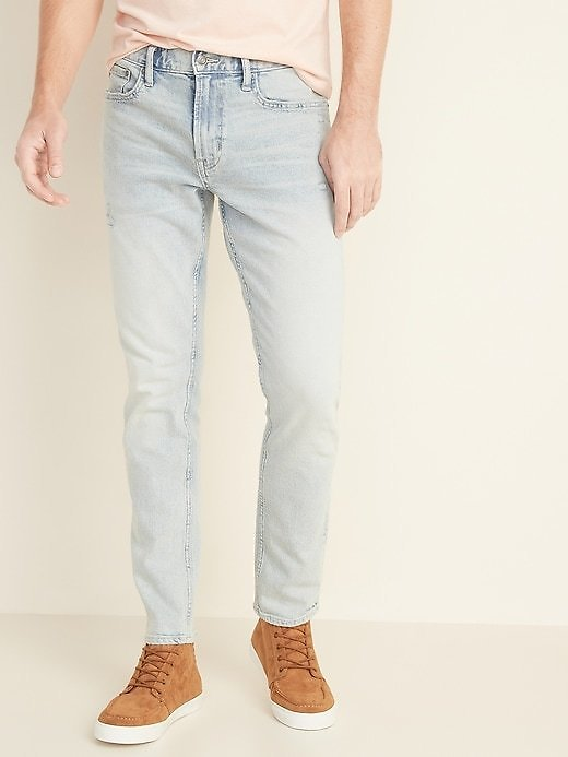 Relaxed Slim Built-In Flex Distressed Light-Wash Jeans for Men   Old Navy