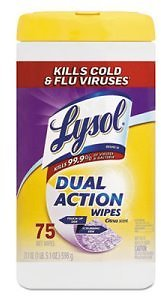 Lysol Dual Action Disinfecting Wipes, Citrus Scent, 75 Wipes (RAC81700)