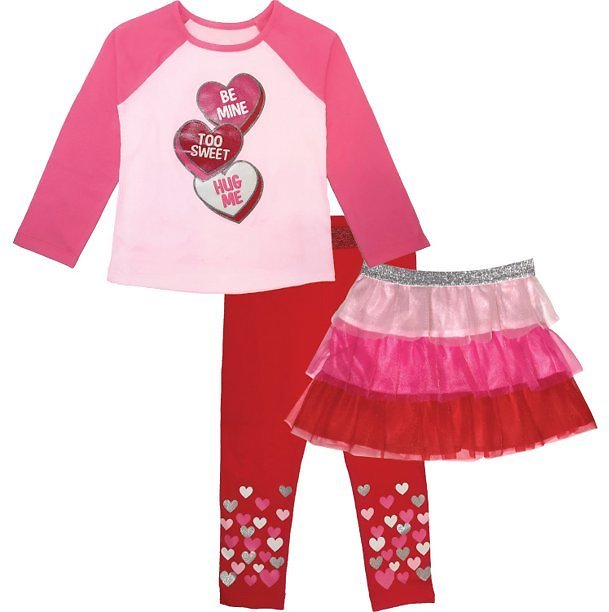 Way to Celebrate St. Valentine's Day Baby & Toddler Girls Top, Leggings & Tutu Skirt, 3-Piece Outfit Set, Sizes 12M-5T