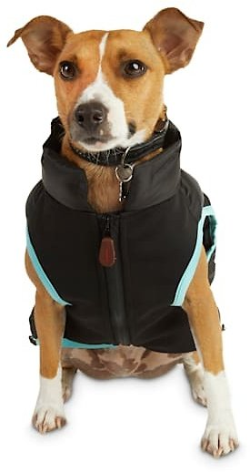 Reddy Black Zip-and-Stow Dog Puffer Jacket, Small