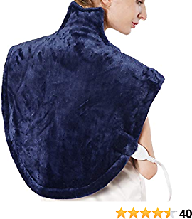 Large Heating Pad for Neck and Shoulders Pain Relief, Electric Heating Pad for Back Pain with 2 Hours Auto Shut Off, 3 Heat Settings, SoftTouch Flannel, 25