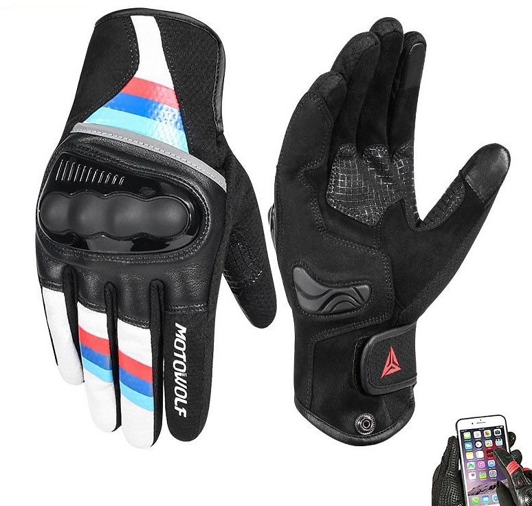 Breathable Leather Motorcycle Gloves, Motocross Racing Touch Screen Gloves