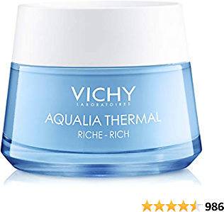 Vichy Aqualia Thermal Rich Face Cream Moisturizer for Dry and Extra-Dry Skin, Facial Moisturizer with Natural Origin Hyaluronic Acid to Hydrate, Soothe and Moisturize, Paraben-Free