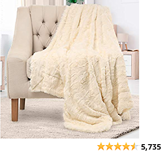Everlasting Comfort Luxury Faux Fur Throw Blanket - Ultra Soft and Fluffy - Plush Throw Blankets for Couch Bed and Living Room - Fall Winter and Spring - 50x65 (Full Size) Ivory