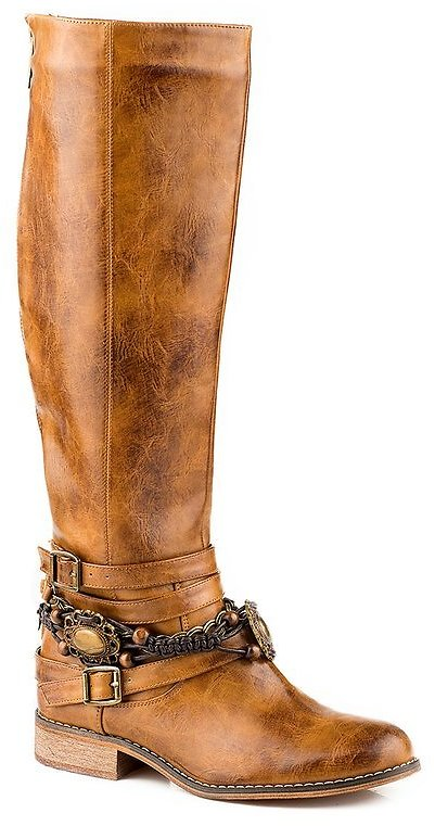 Tan Strap-Accent Cowboy Boot - Women