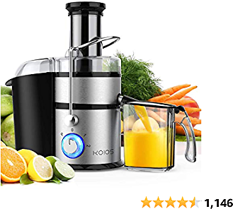 """KOIOS Centrifugal Juicer Machines, Juice Extractor with Big Mouth 3"""" Feed Chute, 304 Stainless-steel Fliter, Best Seller Juicer 2020, High Juice Yield, Easy to Clean&100% BPA-Free, 1200W&Powerful, Dishwasher Safe, Included Brush"""