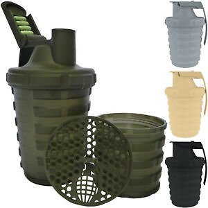 Grenade 20 Oz. Shaker Blender Mixer Bottle with 600ml Protein Cup Compartment