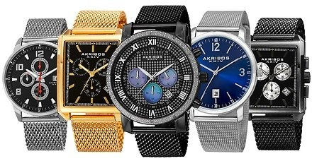 Akribos XXIV Men's Multi-Function & Classic Stainless Steel Mesh Collection
