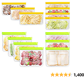 Reusable Storage Bags - 14 Pack EXTRA THICK Freezer Bags (7 Reusable Sandwich Bags & 7 Reusable Snack Bags) FDA Grade LEAKPROOF Lunch Bag for Food Travel Items Storage BPA-FREE