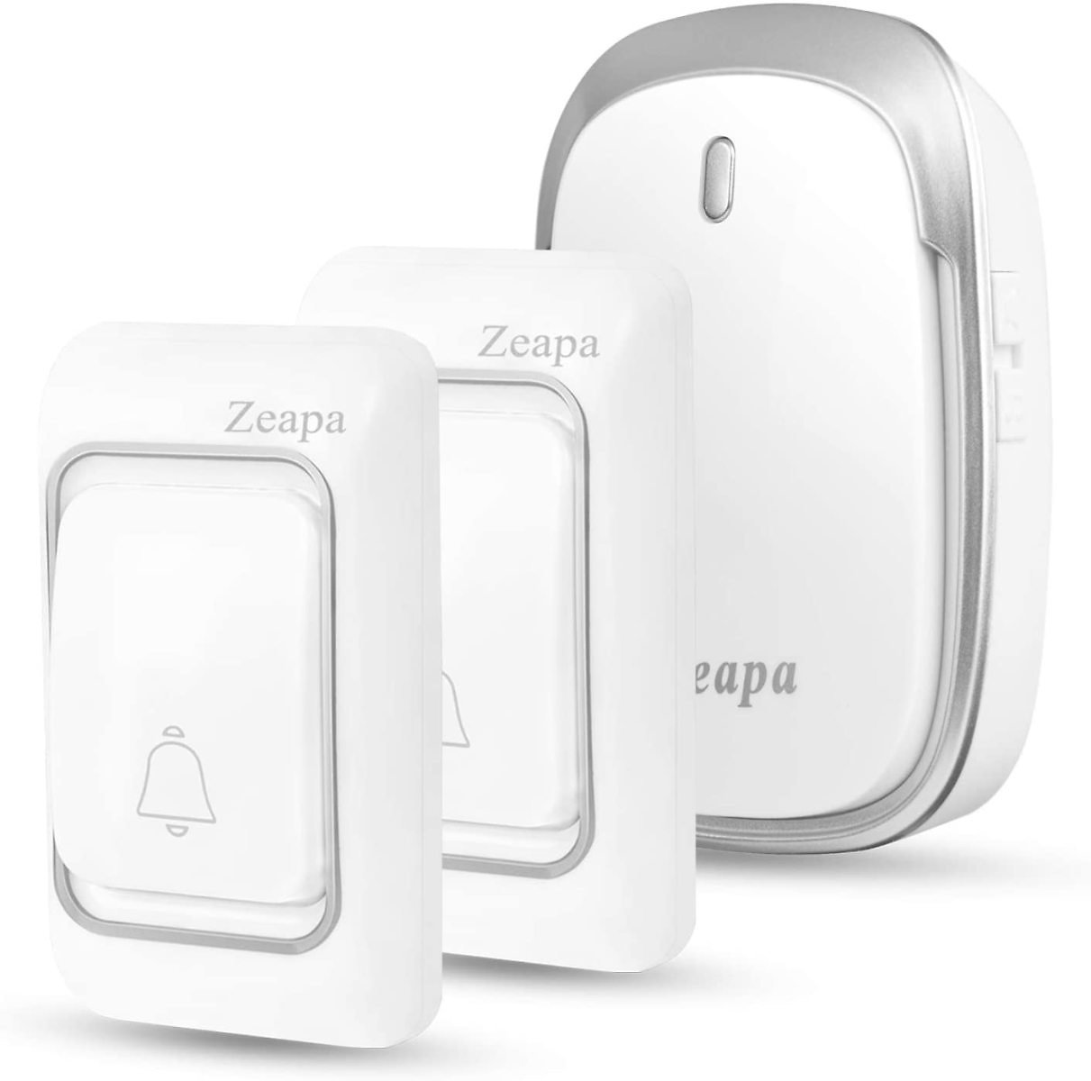 Wireless Doorbells, 1 Plug-in Receiver, 2 Transmitters, 1300ft Range, 58Chimes, 4Level Sound, LED Indicator, Battery Included, W