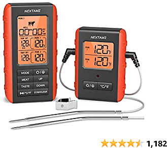 Wireless Digital Meat Thermometer, NEXTAMZ Instant Read Food Cooking Thermometer with Dual Probes and 328FT Range for Smoker, Grill, Oven, BBQ