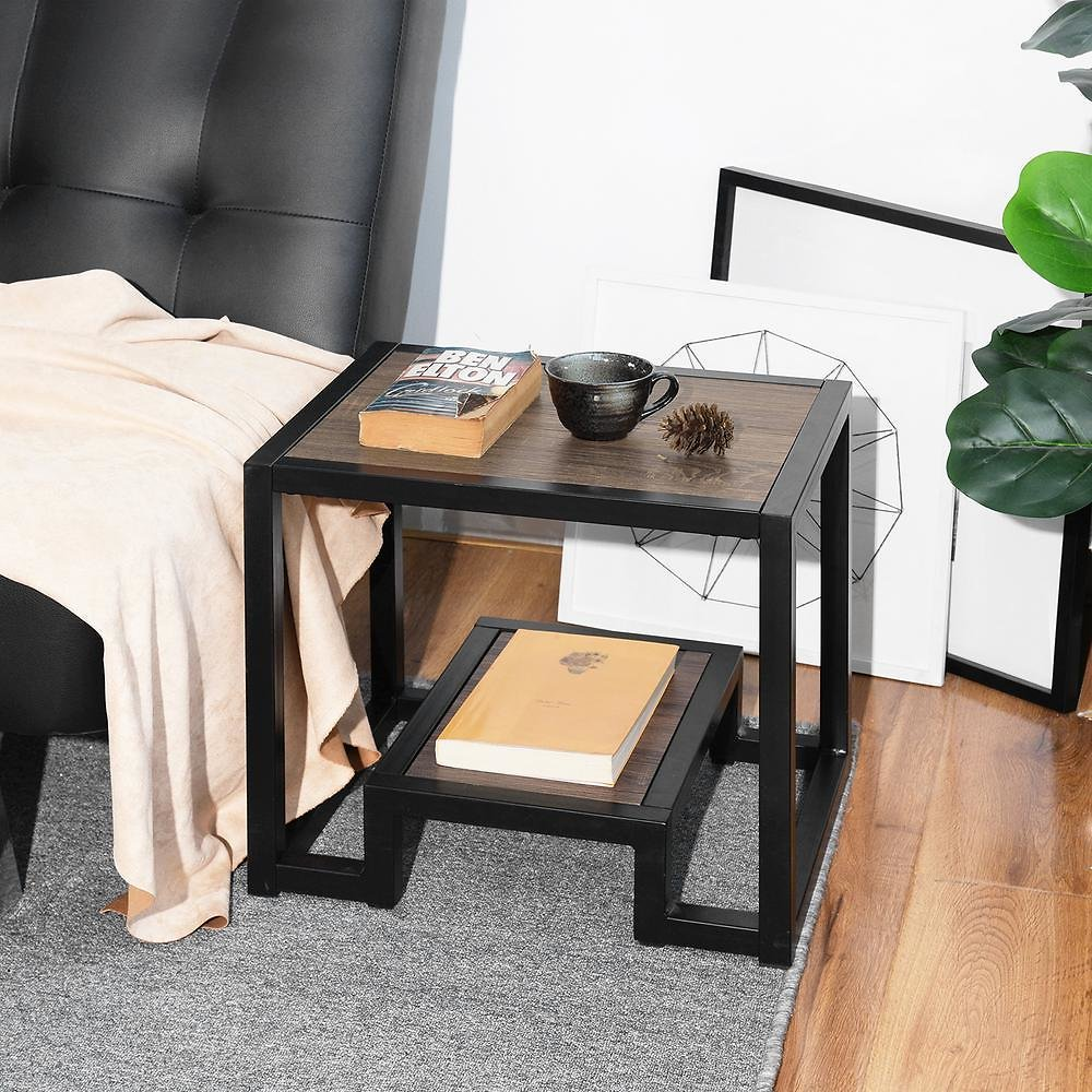 FurnitureR Billee Frame End Table with Storage