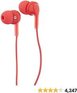 Amazon Basics In-Ear Wired Headphones Earbuds with Microphone, Red