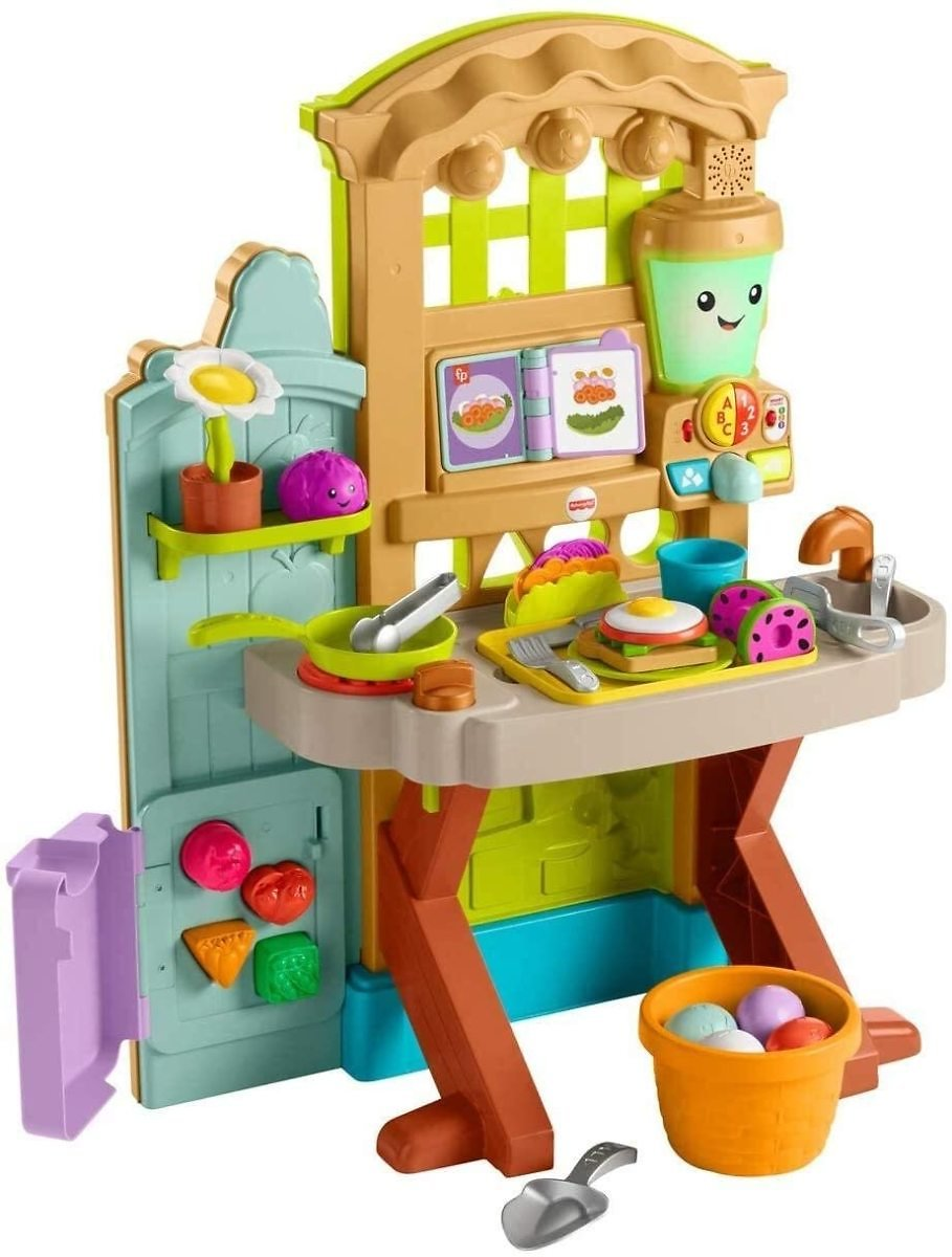 Fisher-Price Laugh & Learn Grow-the-Fun Garden to Kitchen, interactive farm-to-kitchen playset for toddlers with music