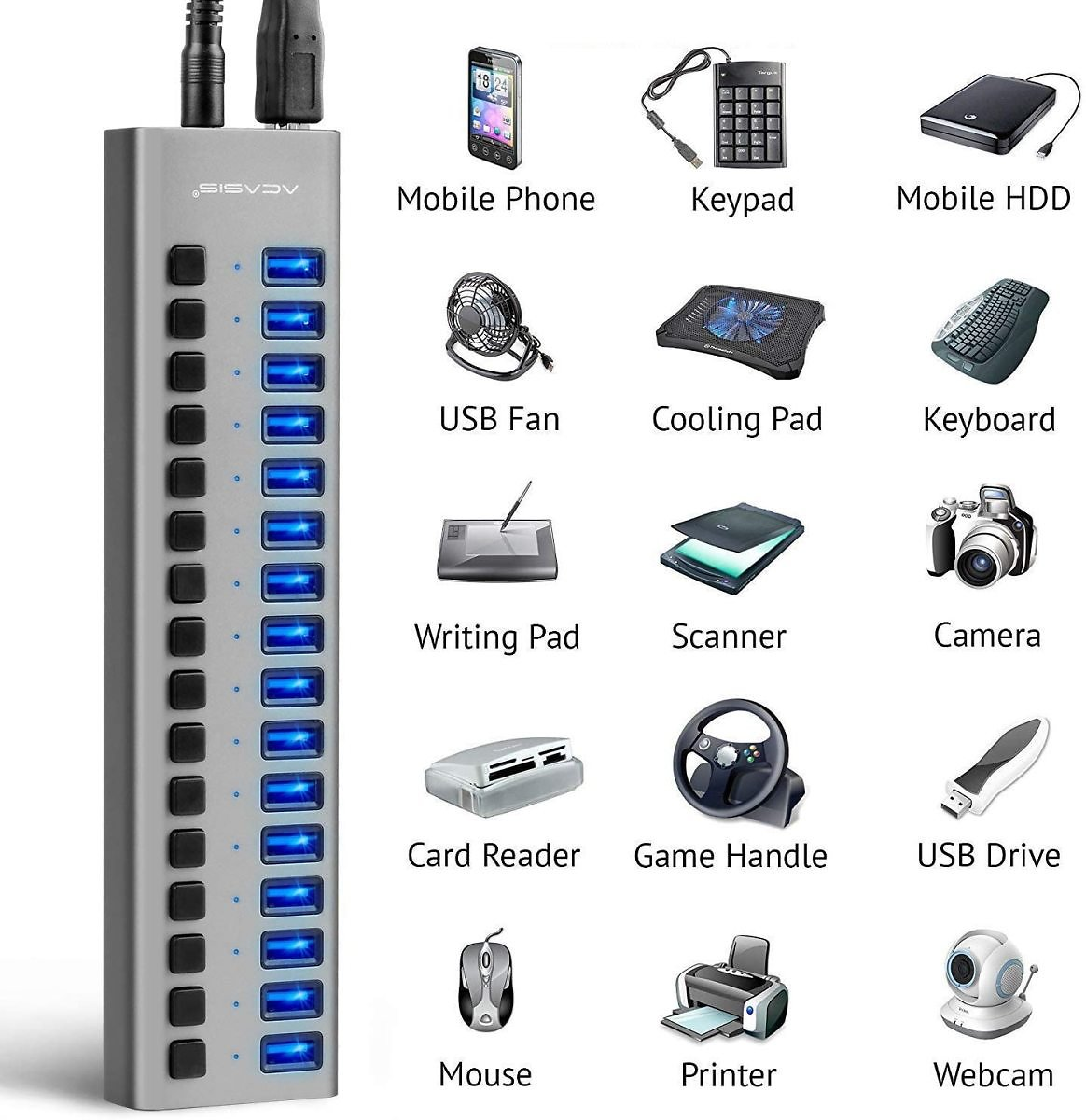Powered USB Hub - ACASIS 16 Ports 90W USB 3.0 Data Hub - with Individual On/Off Switches and 12V/7.5A Power Adapter
