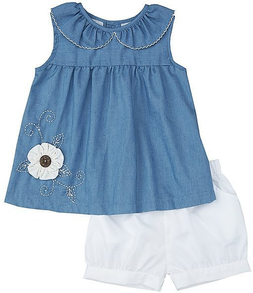 Blue Flower Appliqué Denim Sleeveless Top & White Shorts - Infant & Toddler