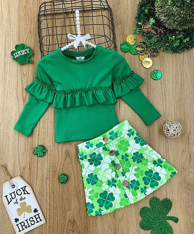 Green Ruffle Long-Sleeve Top & Clover A-Line Skirt - Toddler & Girls