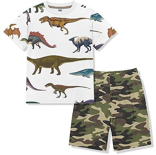 White Dino Crewneck Tee & Green Camo Shorts - Toddler & Boys
