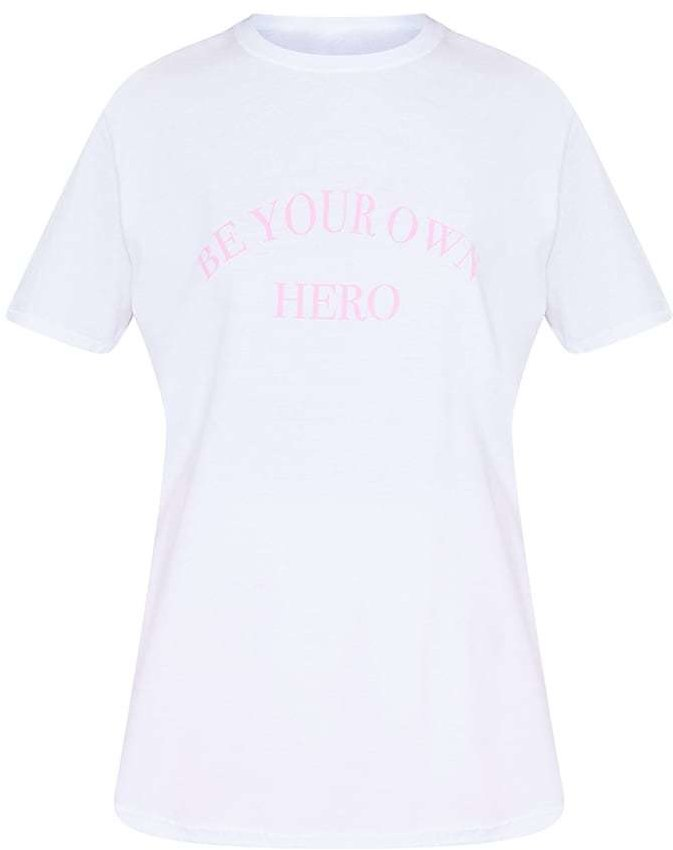 White Be Your Own Hero Printed T Shirt