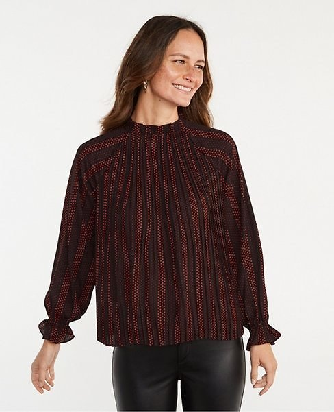 Dotted Ruffle Mixed Media Pleat Front Top | Ann Taylor