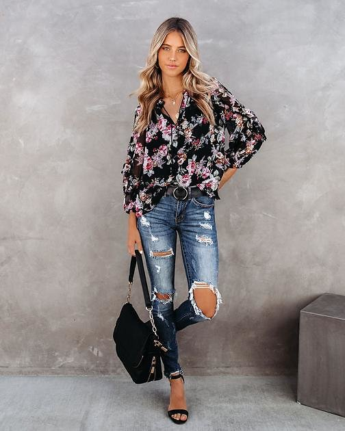There For You Floral Ruffle Blouse - FINAL SALE