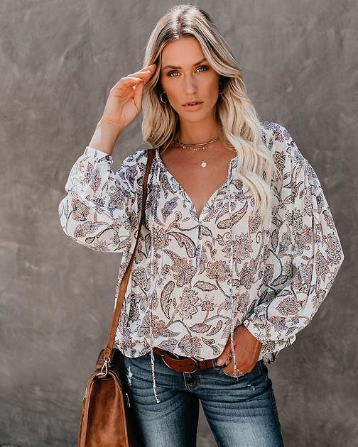 Gava Metallic Floral Blouse - FINAL SALE