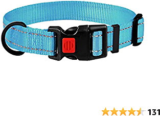 CBBPET Dog Collar for Large Dogs Small Medium Reflective Dog Collars,Soft Nylon Pet Collars Adjustable for Dogs Girl,Sky Blue