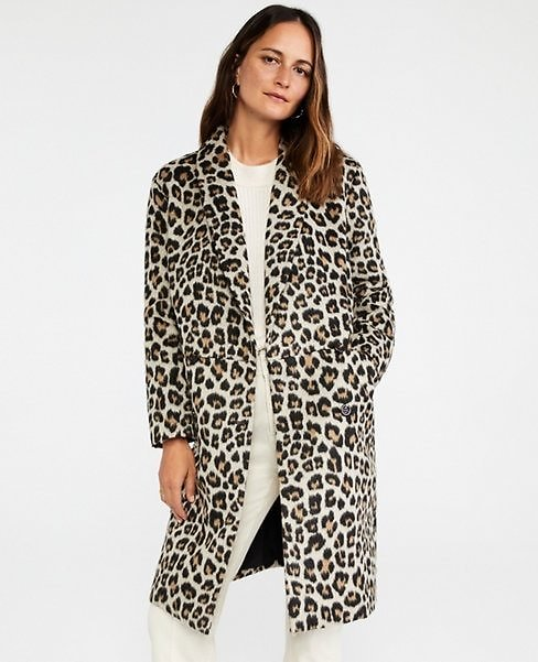 Brushed Leopard Print Shawl Collar Cocoon Coat | Ann Taylor