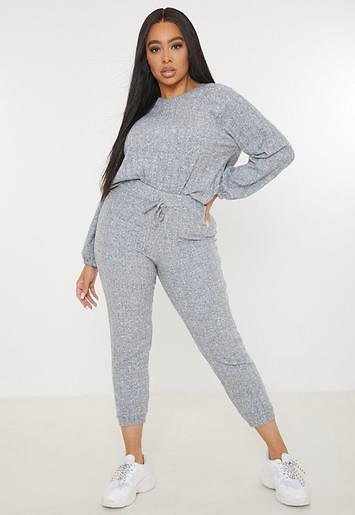 Missguided - Plus Size Gray Ribbed Loungewear Co Ord Set Bs