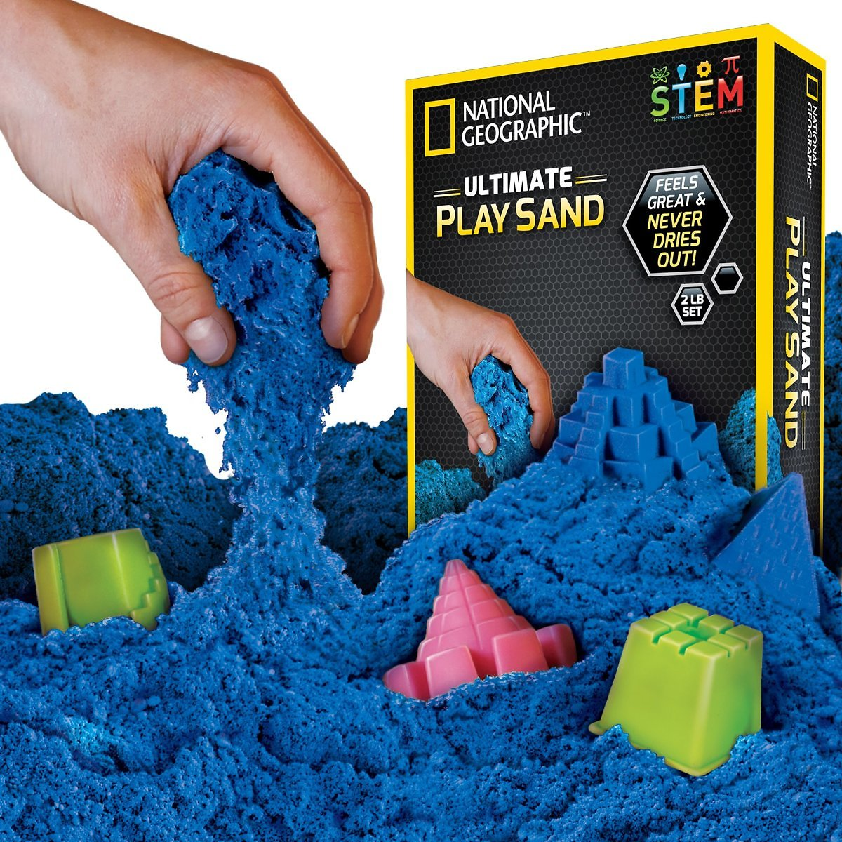 National Geographic Ultimate Play Sand Blue, 2 Lbs with 6 Castle Molds
