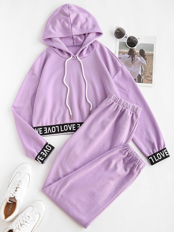 Letter Tape Hooded Sports Joggers Set At Zaful