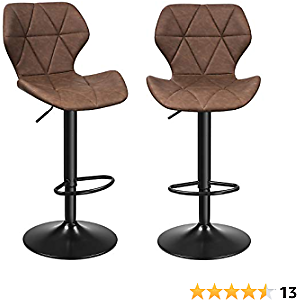 SONGMICS Set of 2 Bar Stools with Stable Metal Frame, Synthetic Leather Cover and Footrest, Adjustable Seat Height, 22.4-31.1