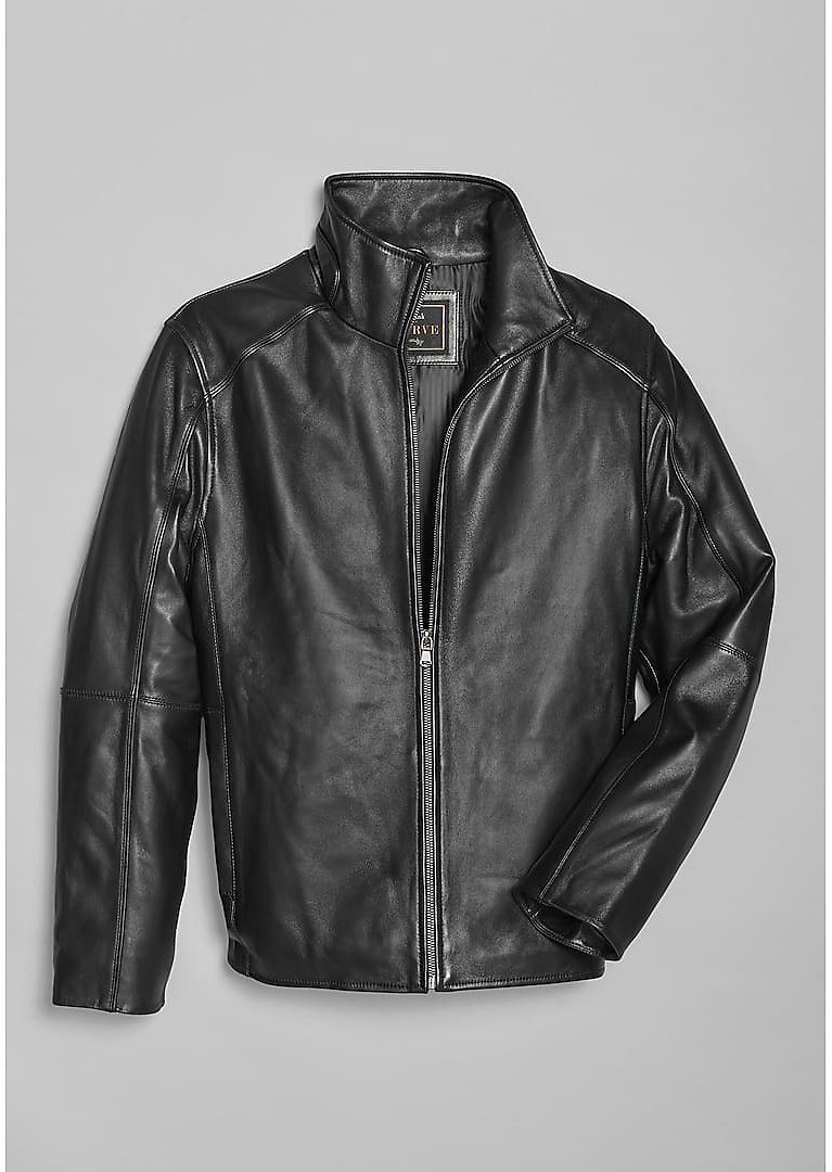 Reserve Collection Traditional Fit Leather Bomber Moto Jacket