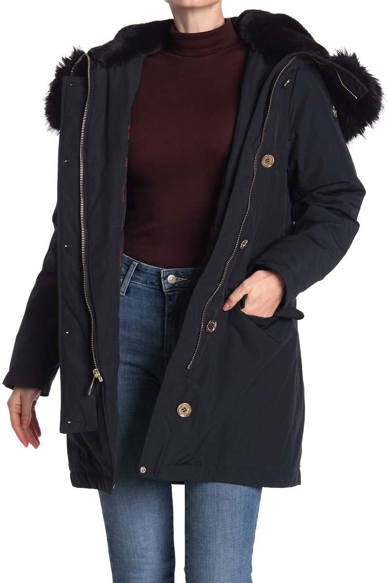 Michael Kors Lux Faux Fur Trim Hooded Zip Jacket