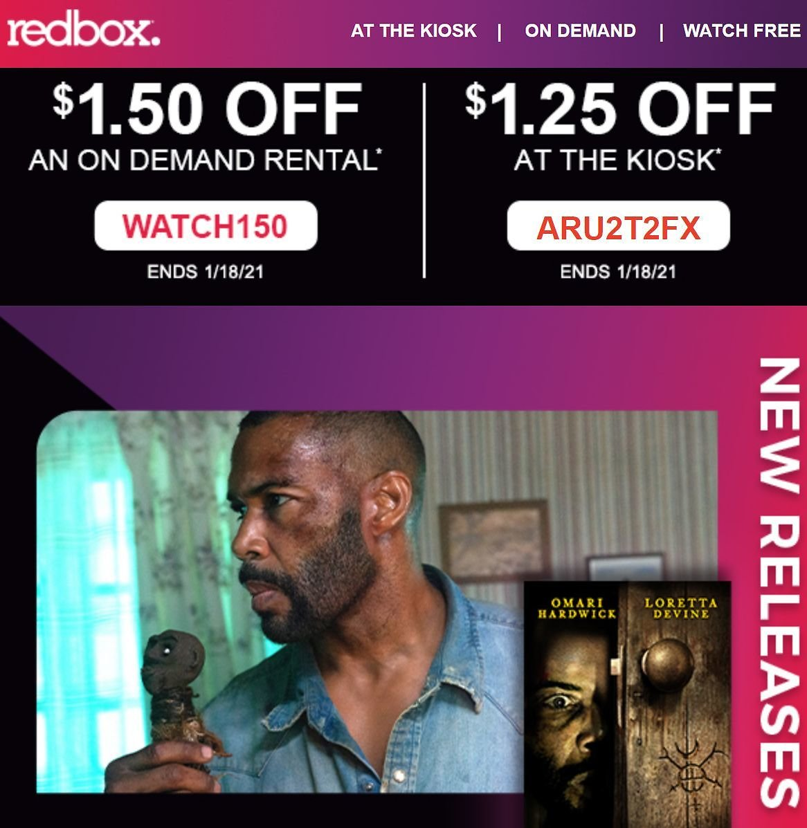 Redbox: $1.50 Off On-Demand Rental or $1.25 Off Disc Rental at the Kiosk