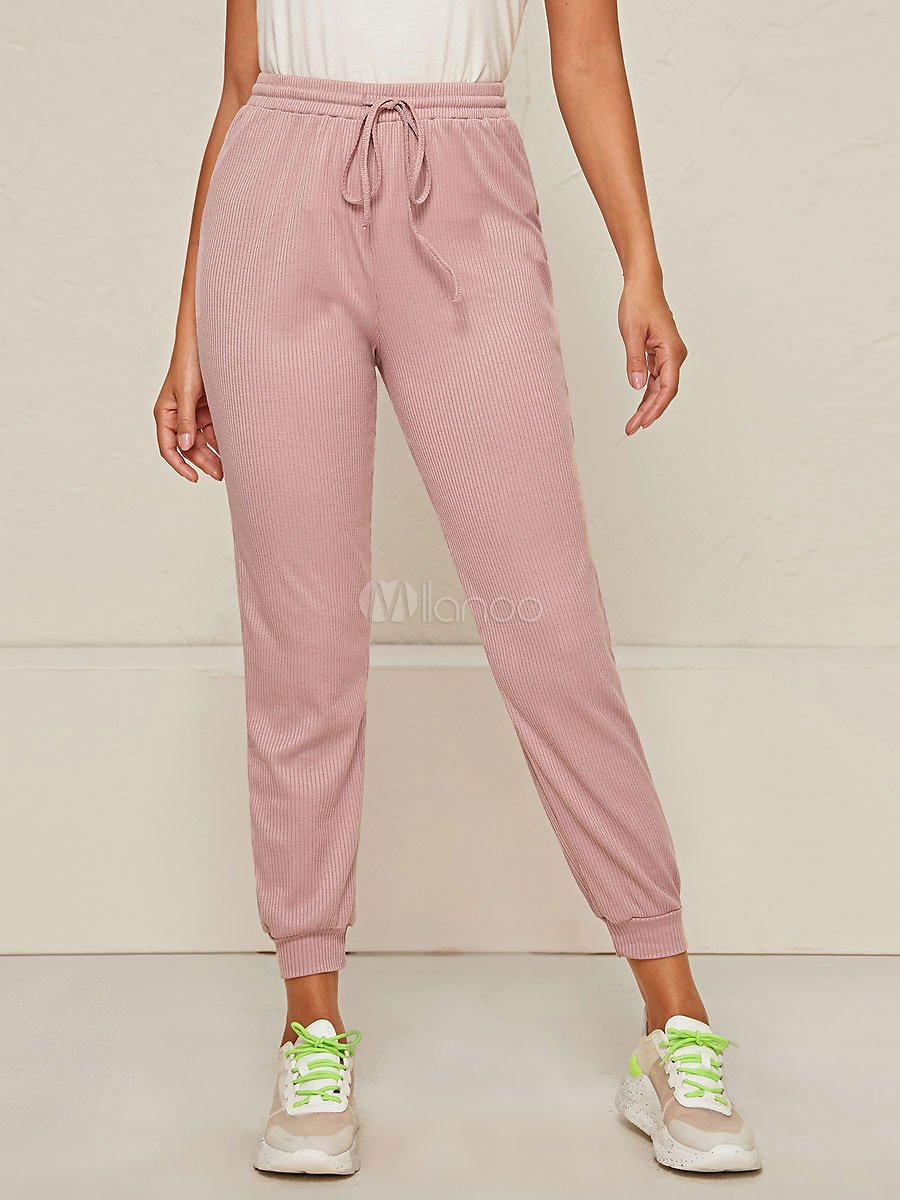 Women Pants Pink Polyester Tapered Fit Trousers Straight Long Pants