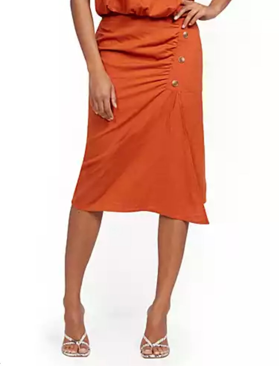 Linen Button-Front Wrap Skirt - New York & Company