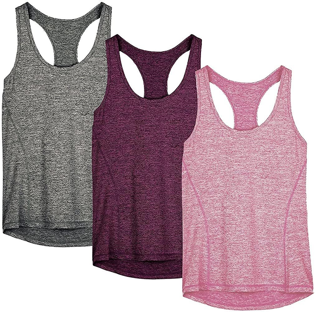Pack of 3 Icyzone Women's Racerback Workout Tank Top ('MultipleColors)