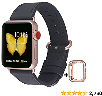 JSGJMY Compatible with Apple Watch Band 38mm 40mm 42mm 44mm Women Men Genuine Leather Replacement Strap for IWatch Series SE 6 5 4 3 2 1 (Black with Series 5/4/3 Rose Gold Clasp, 42mm/44mm M/L)
