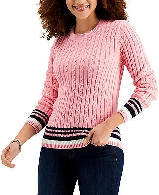 Tommy Hilfiger Cotton Tipped Cable-Knit Sweater & Reviews - Sweaters - Women