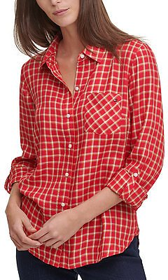 Tommy Hilfiger Windowpane-Print Shirt & Reviews - Tops - Women