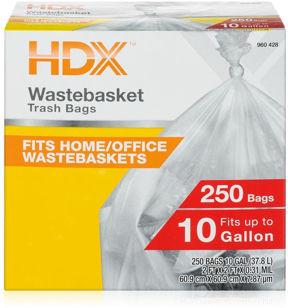 HDX 10 Gal. Clear Waste Liner Trash Bags (250-Count)-HDX 960428