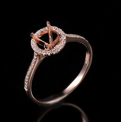 Natural Diamond Semi Mount Halo Ring Settings Round Cut 6MM Solid 14K Rose Gold